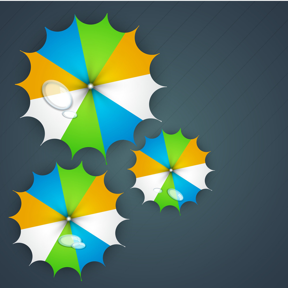 Rainy Season Background With Colorful Umbrellas