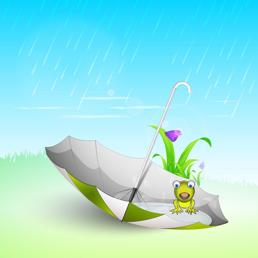 Rainy Season Background With Open Umbrella