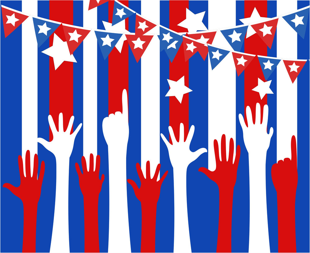 Raising Hands  4th Of July Vector Theme Design