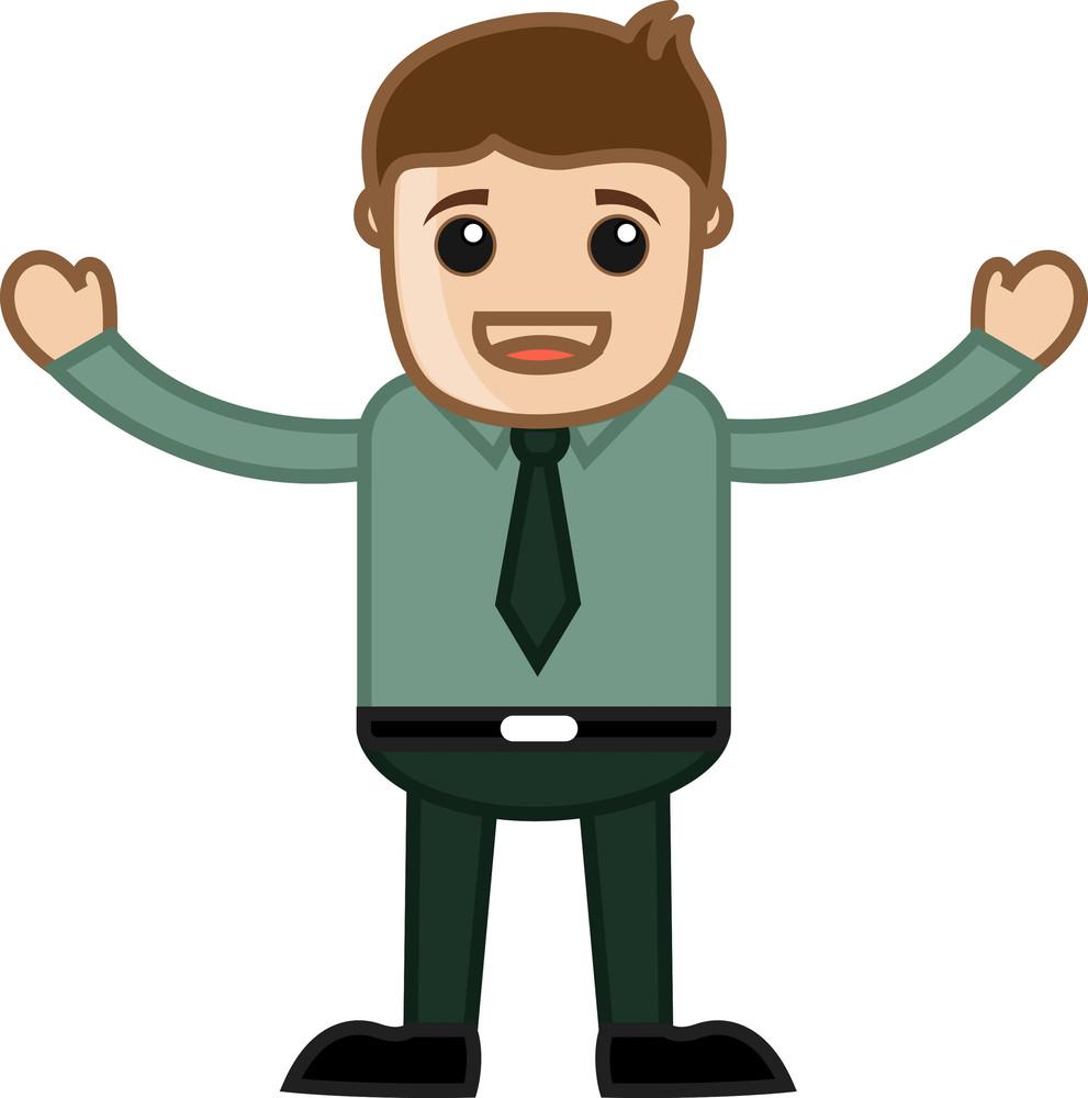 Raising Hands - Business Cartoon Character Vector
