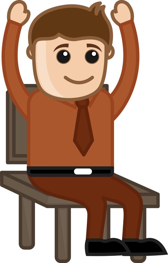 Raising Hands In Seminar - Office Corporate Cartoon People
