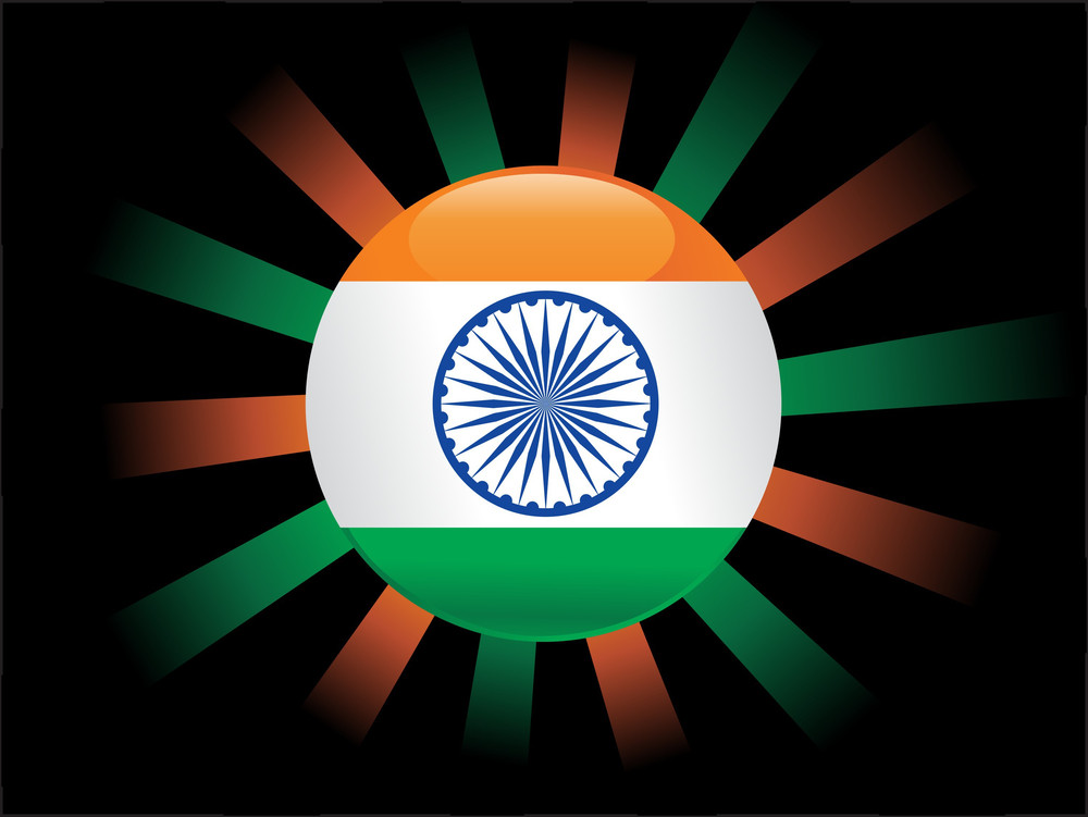 Rasing Sun Isolated With Indian Flag