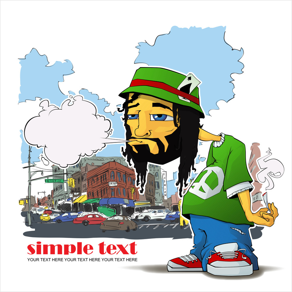 Rasta Character On A City-background. Vector Illustration. Eps10