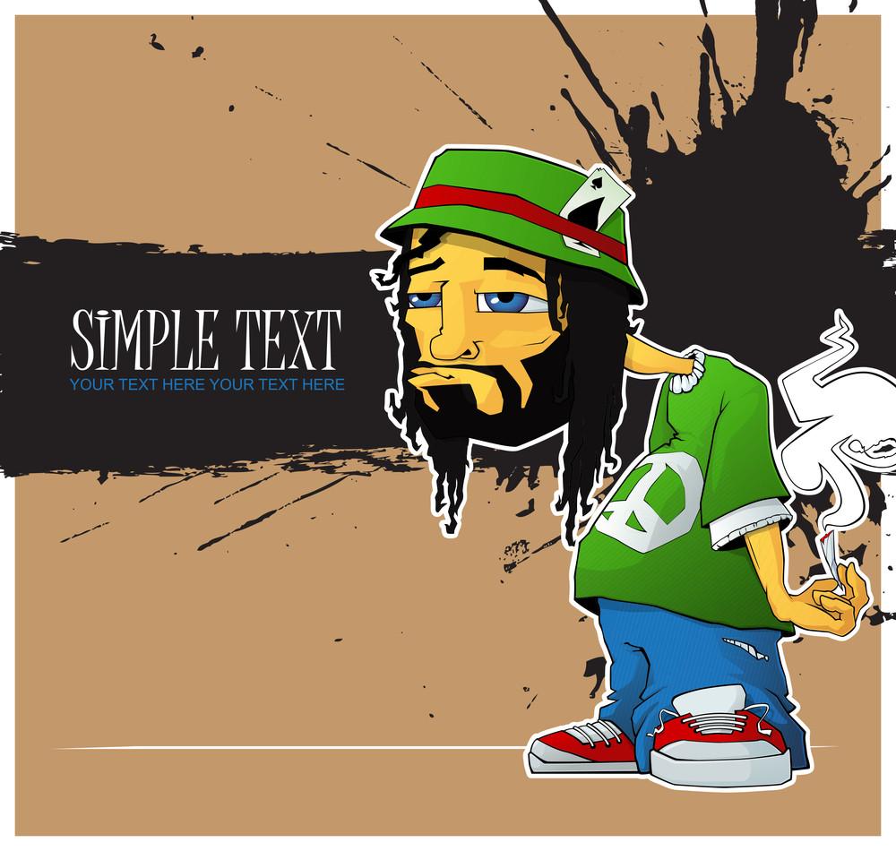 Rasta Character On A Grunge-background. Vector Illustration.eps10