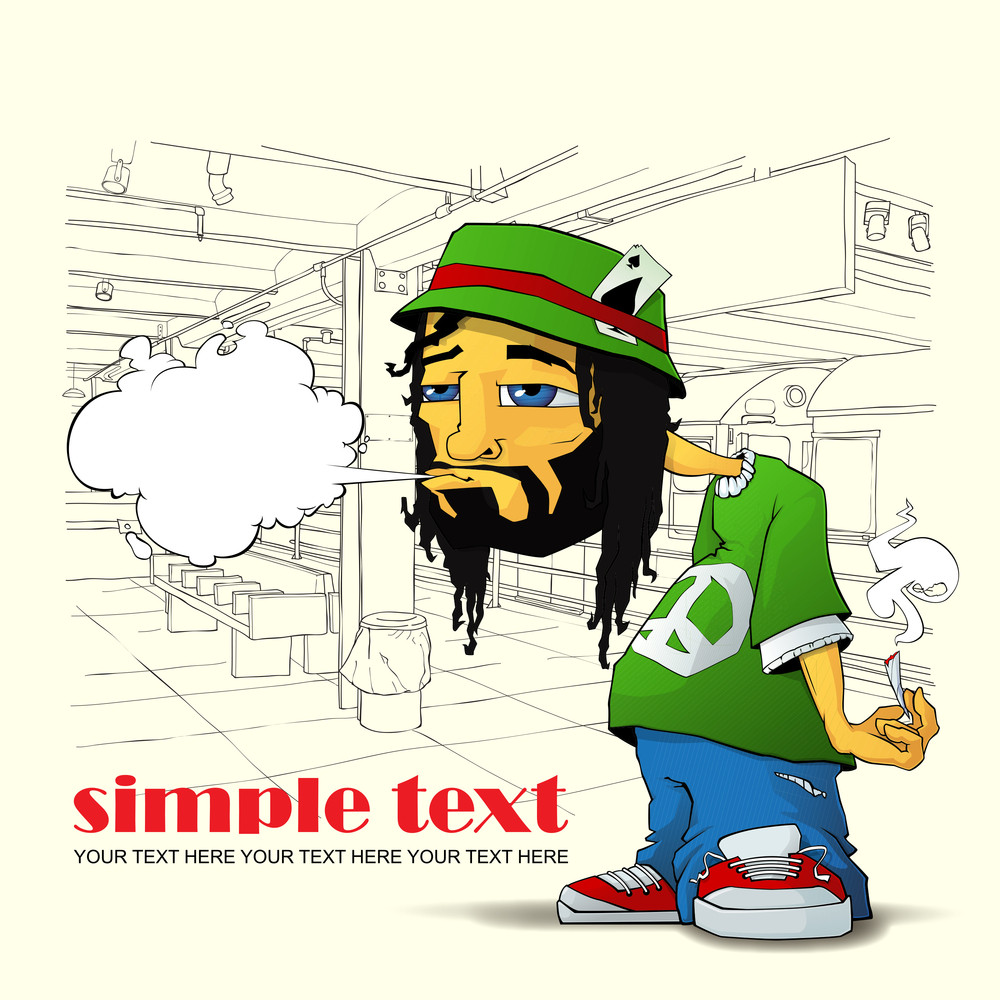 Rasta Character On A Subway Station-background. Vector Illustration. Eps10