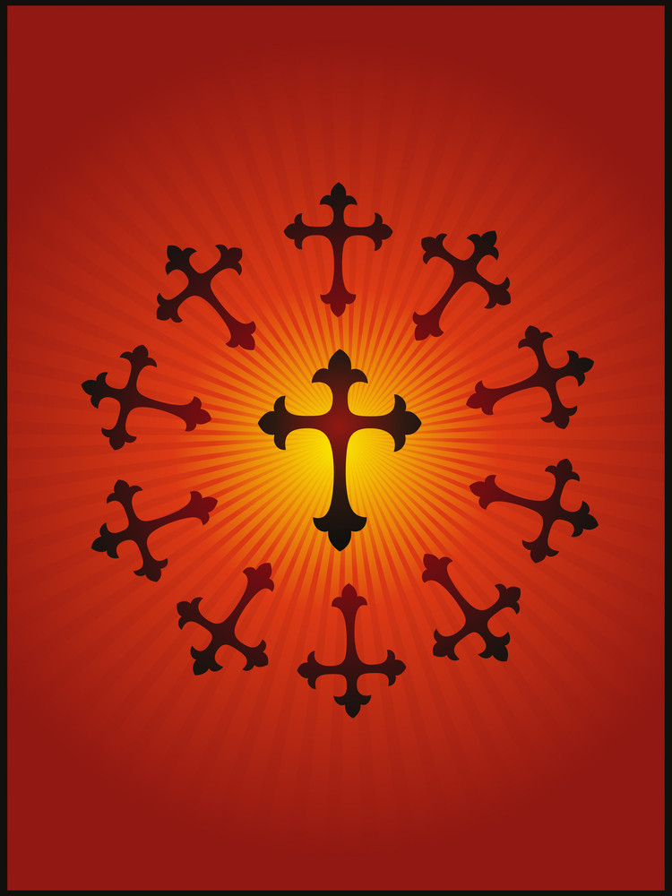 Rays Background With Collection Of Cross