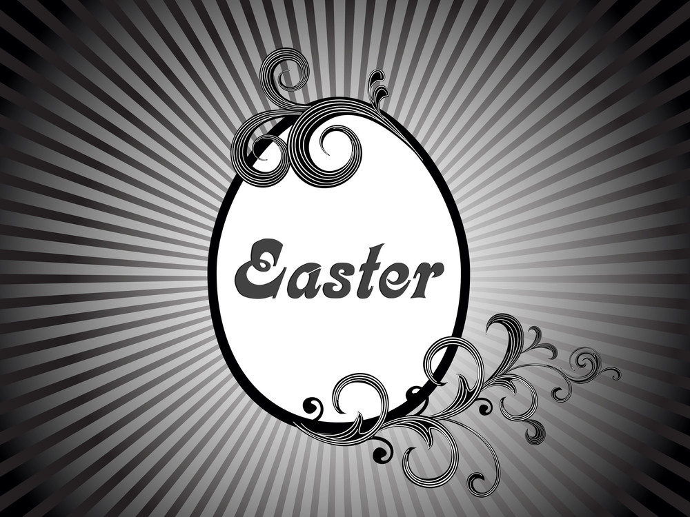 Rays Background With Decorated Easter Egg