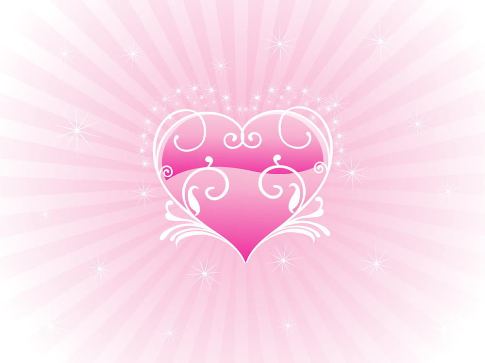 Rays Background With Decorated Heart
