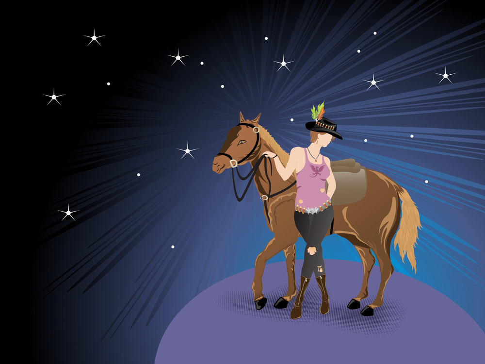Rays Background With Equestrian