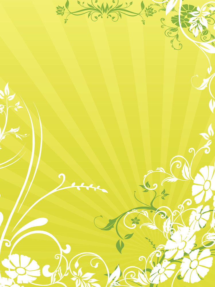 Rays Background With Floral Design