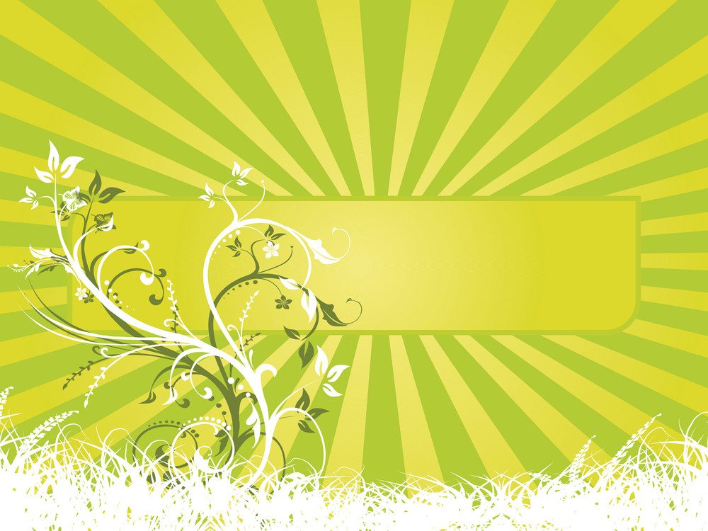 Rays Background With Floral