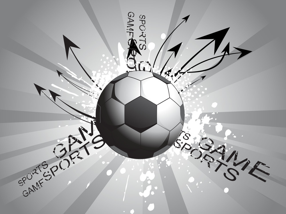Rays Background With Grungy Soccer