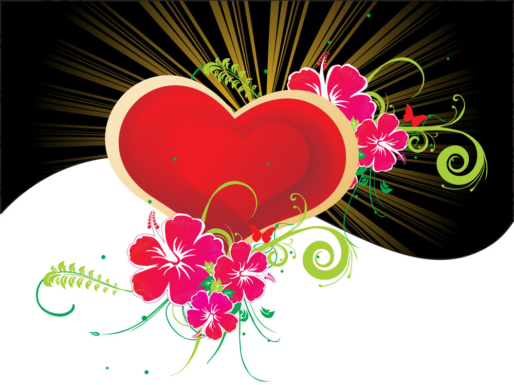Rays Background With Heart And Flower