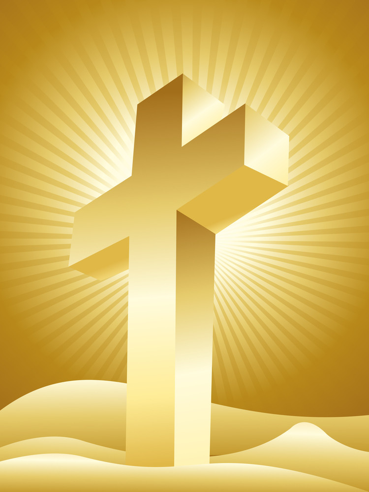 Rays Background With Isolated Cross