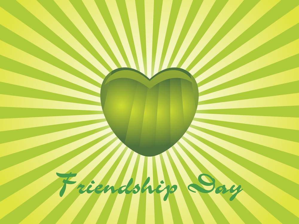 Rays Background With Isolated Green Heart