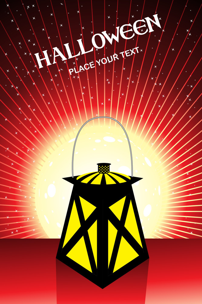 Rays Background With Isolated Halloween Lantern