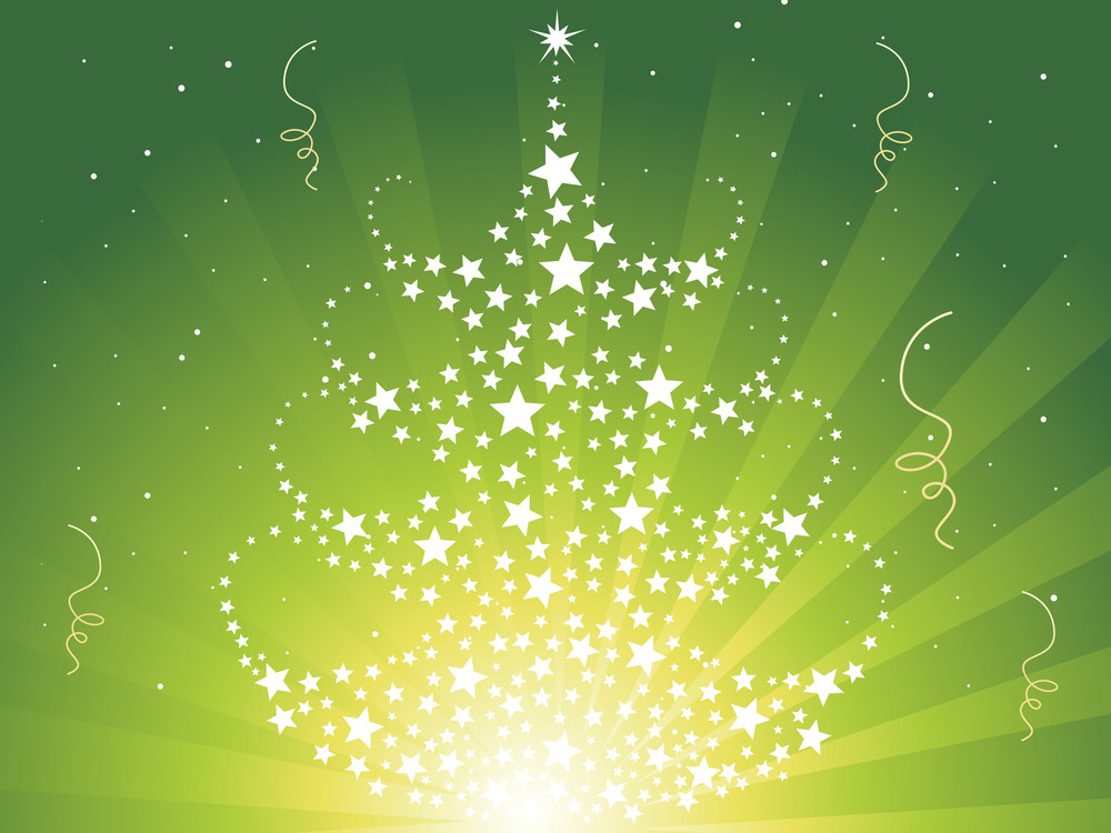 Rays Background With Twinkle Star Pattern Xmas Tree