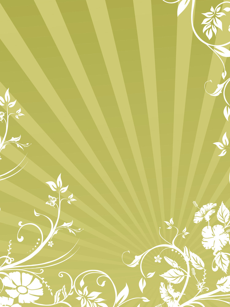 Rays Background With White Flourish Design