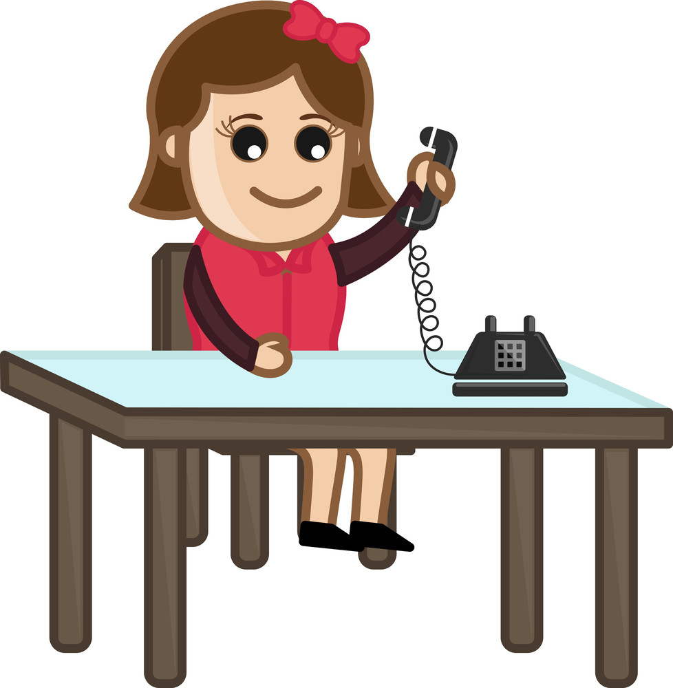 Receiving A Phone Call - Vector Illustration