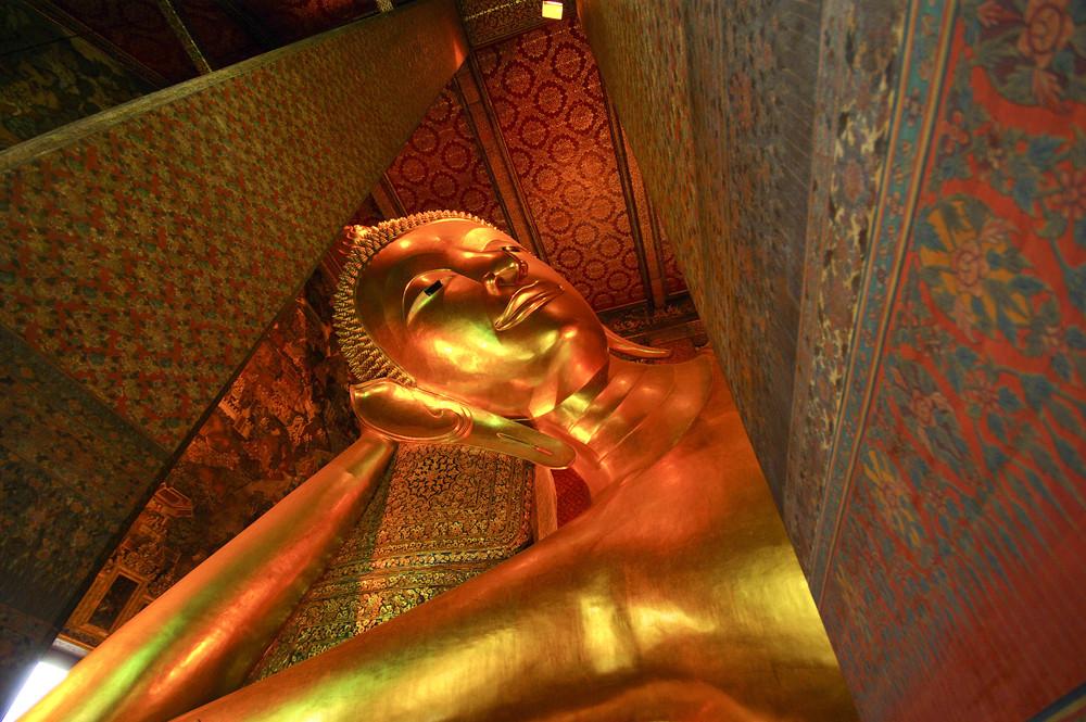 Reclining Buddha statue in Thailand Buddha Temple Wat Pho , Asian style Buddha Art