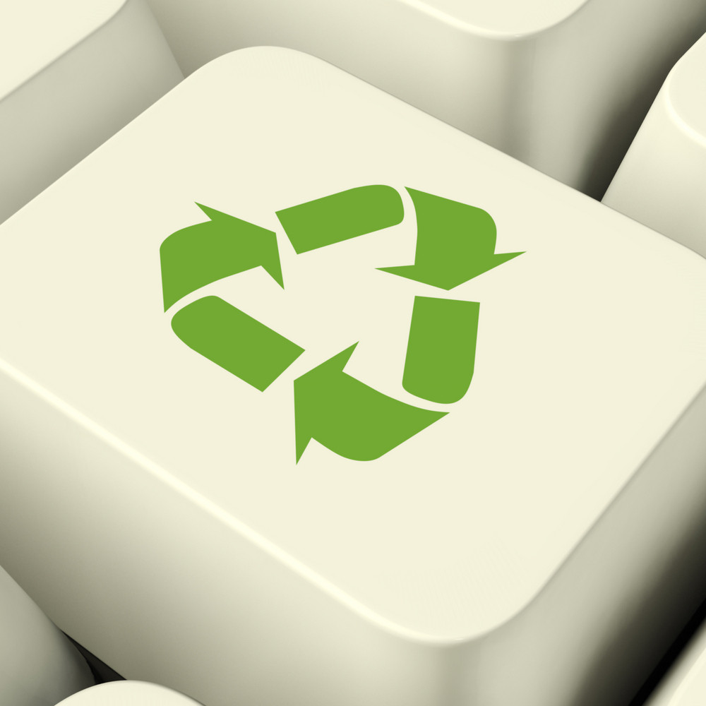 Recycle Icon Computer Key In Green Showing Recycling And Eco Friendly
