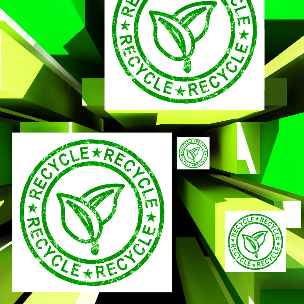 Recycle On Cubes Showing Ecological Care