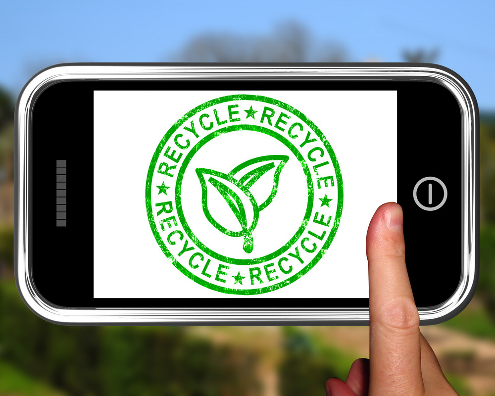 Recycle On Smartphone Shows Environmental Care