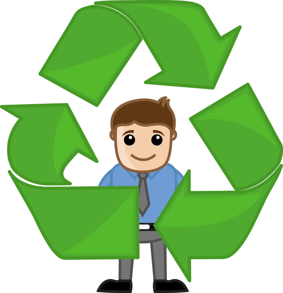 Recycle Process - Vector Character Illustration