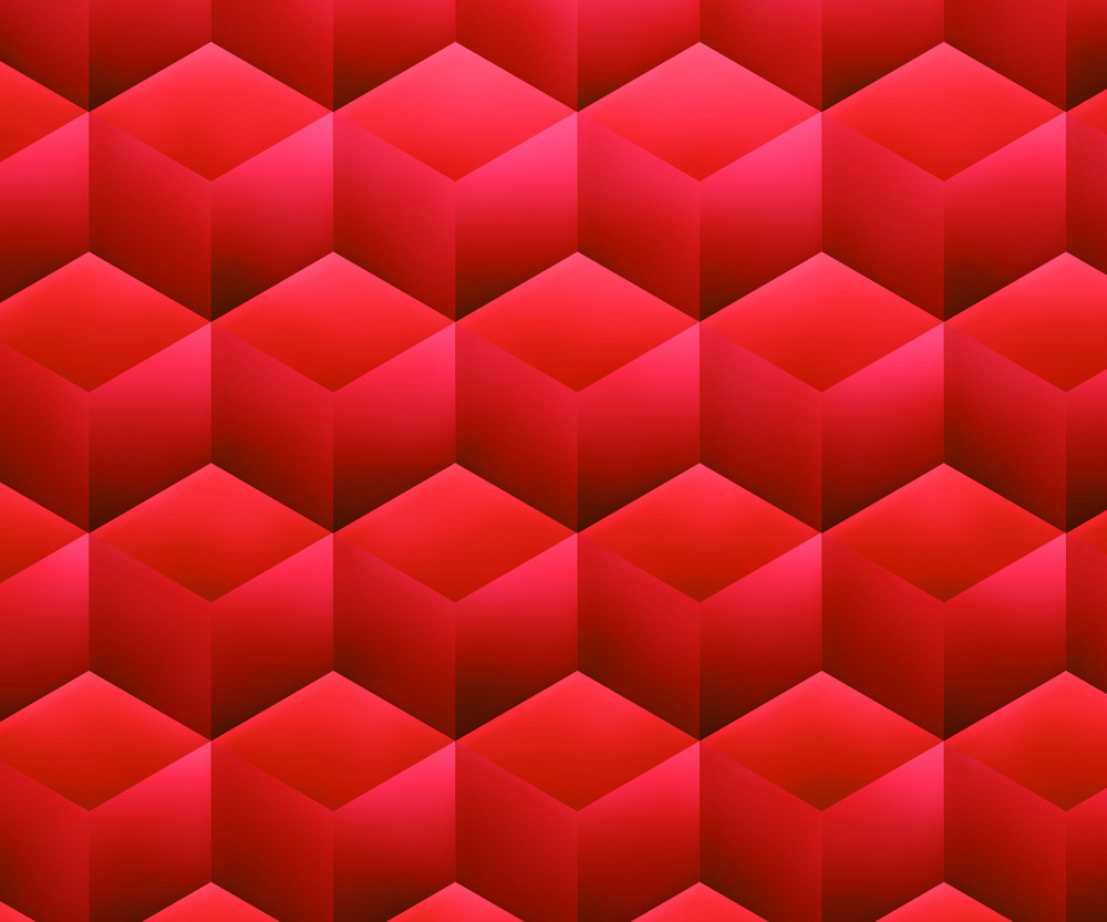 Red Abstract Cubes Background