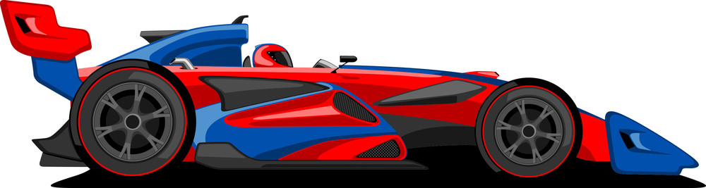 Red And Blue Formula One Car.
