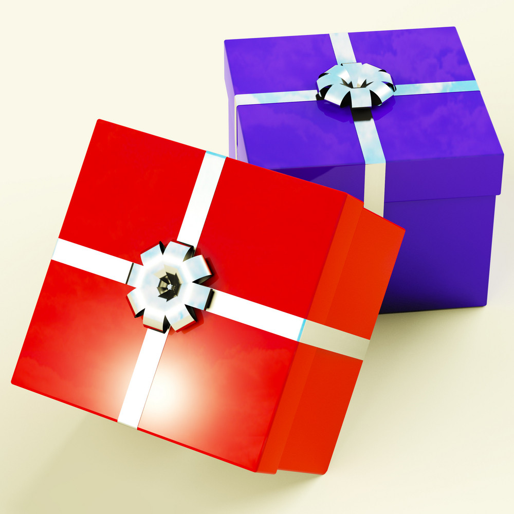 Red And Blue Gift Boxes  As Presents For Him And Her