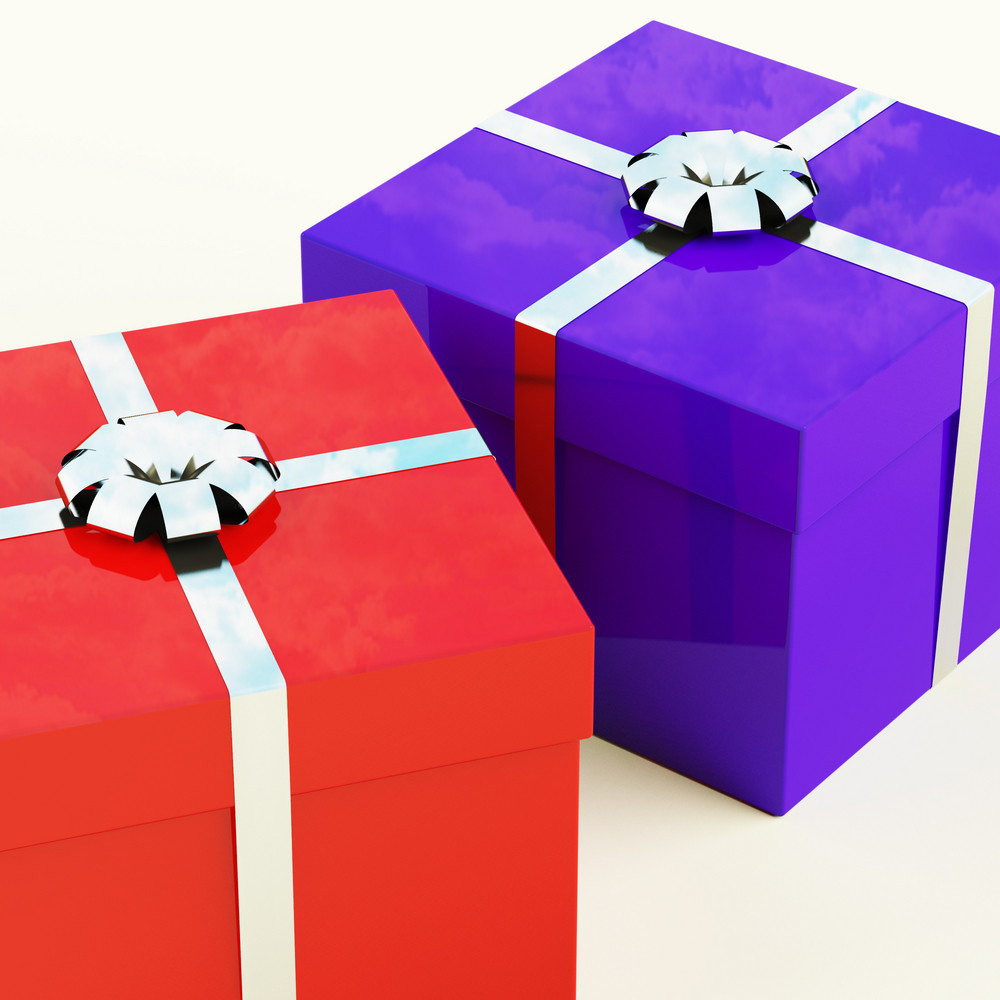 Red And Blue Gift Boxes With Silver Ribbons As Presents For Him And Her