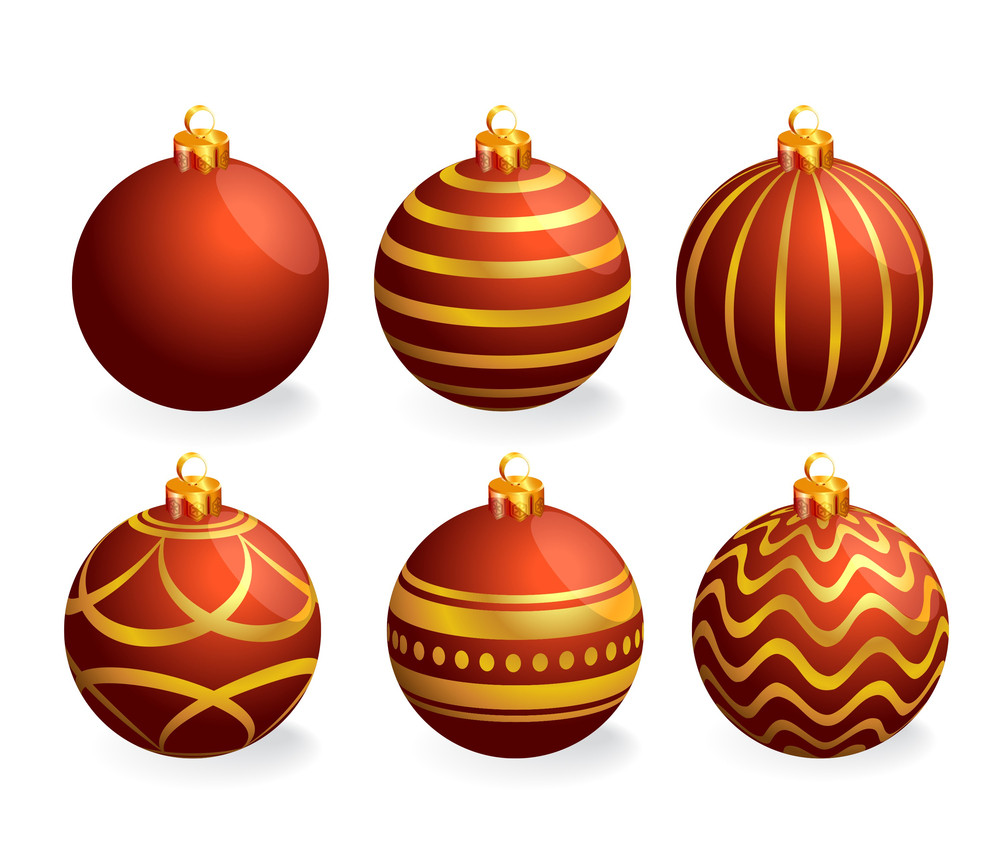 red and gold christmas balls vector
