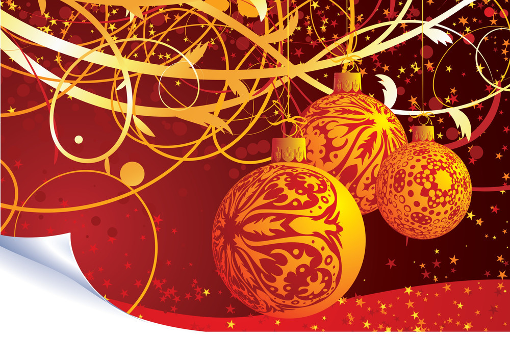 Red And Gold Christmas Decoration. Vector Template.