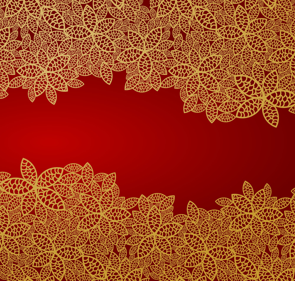 Red And Gold Floral Vector Background