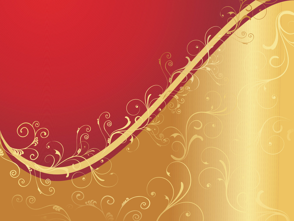 Red And Golden Floral Wallpaper