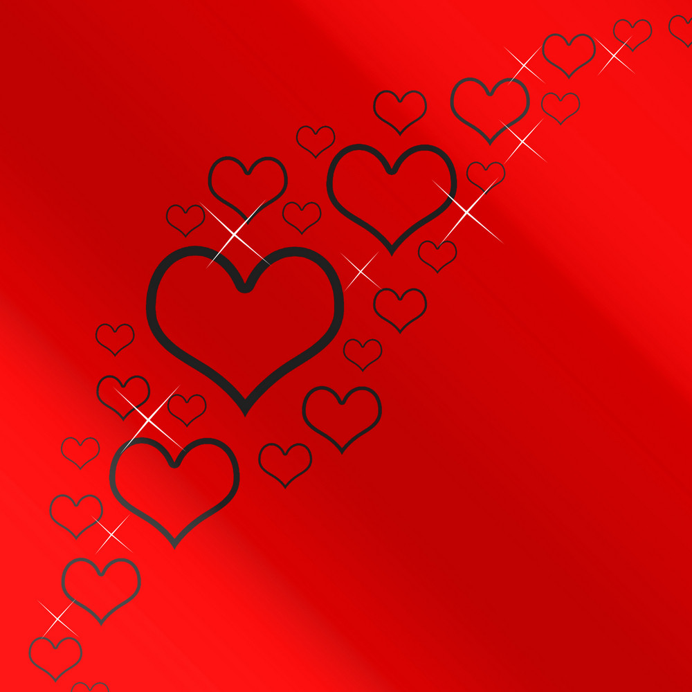 Red And Silver Hearts Background With Copyspace Showing Love Romance And Valentines