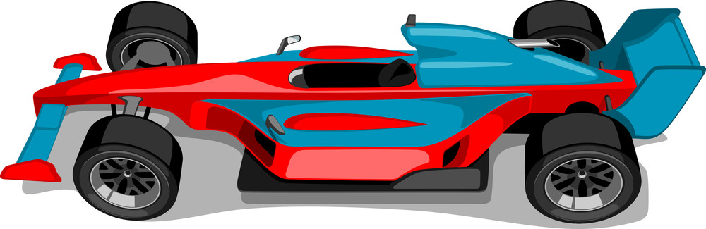 Red And Skyblue Formula One Car. Overhead View.