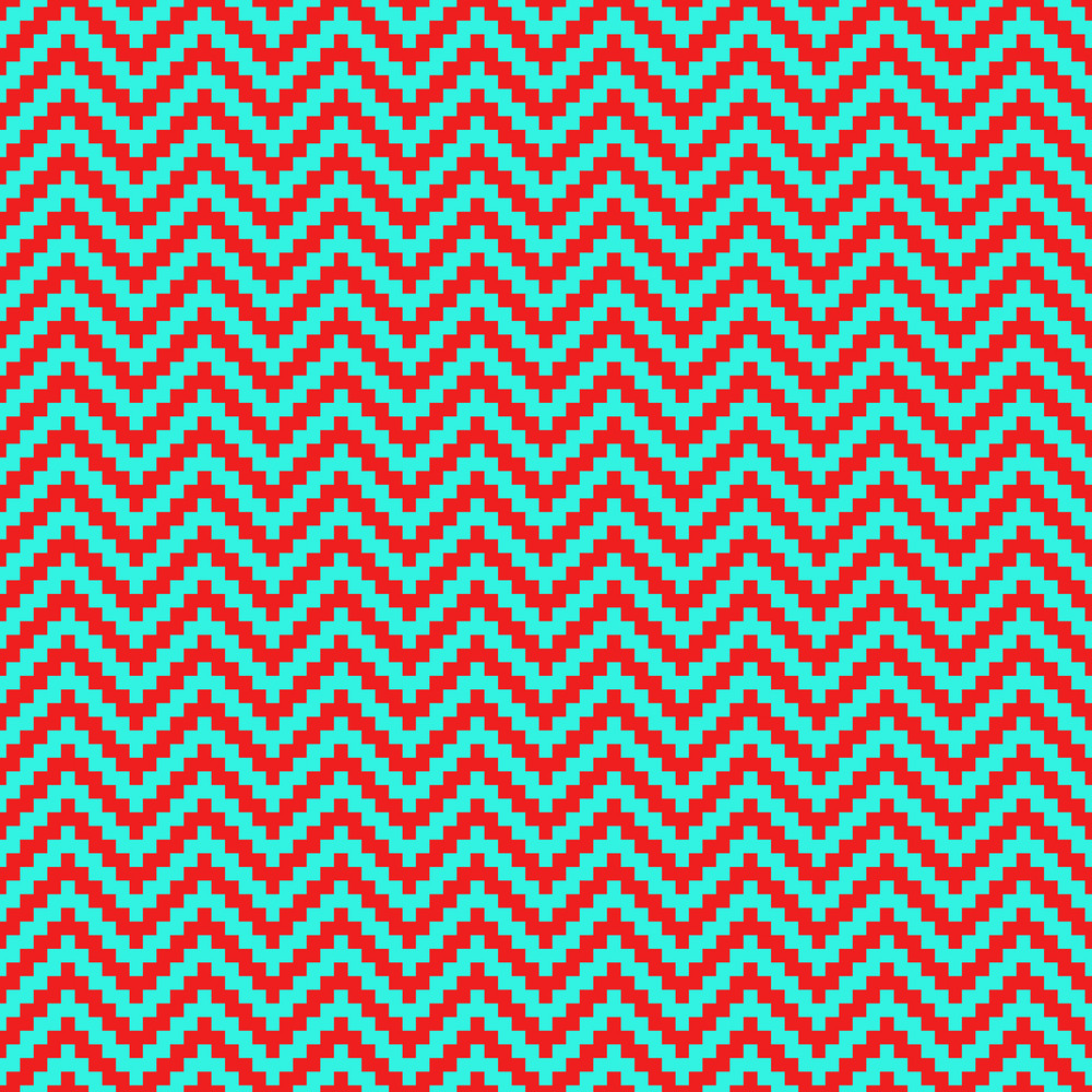Red And Turquoise Chevron Pattern