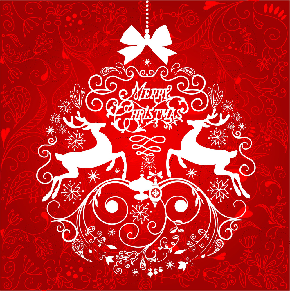 Red And White Christmas Ball Illustration.