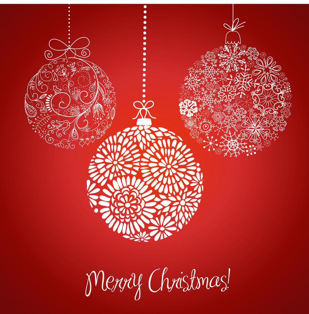 Red And White Christmas Balls Illustration.