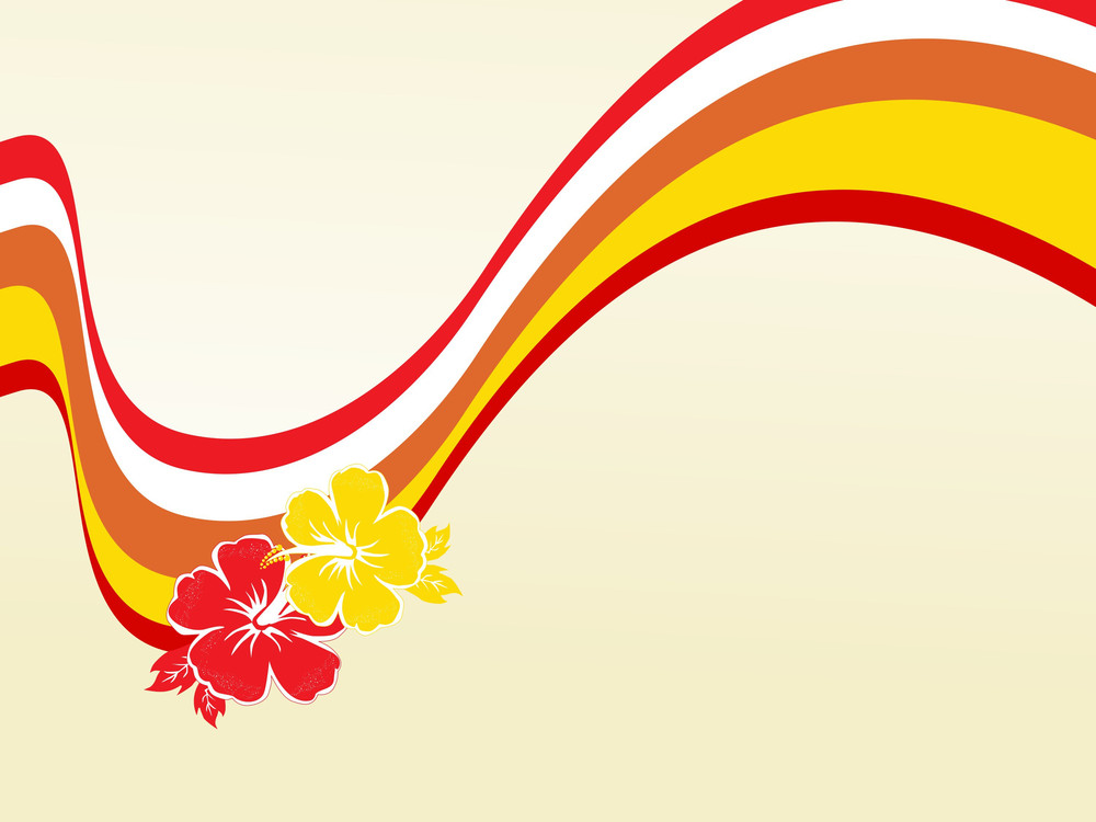 Red And Yellow Waves With Two Flower
