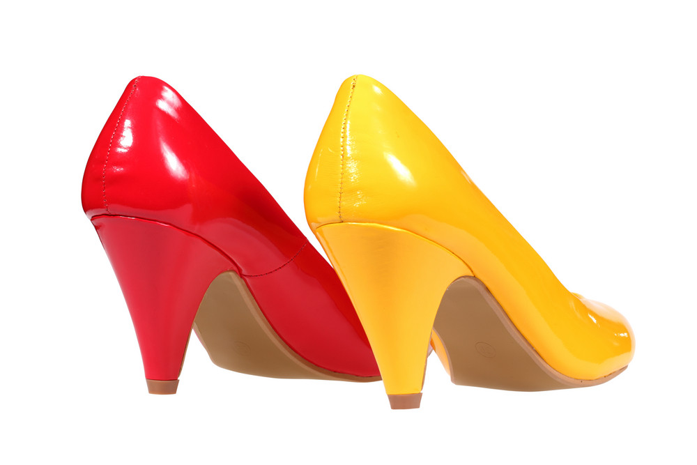 Red And Yellow Women's Heel Shoes