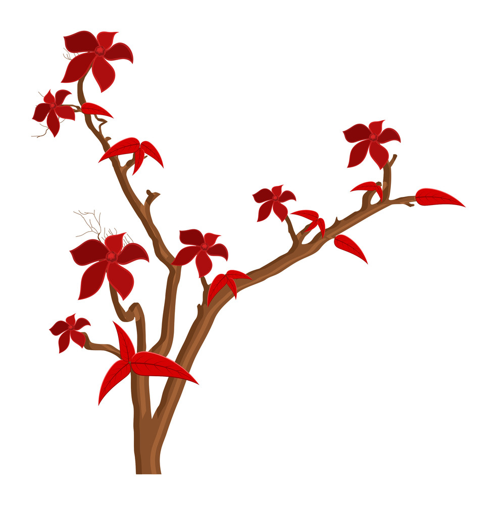 Red Autumn Flowers Branches