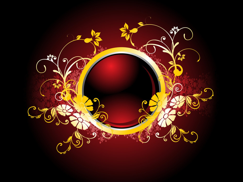 Red Background With Floral Frame