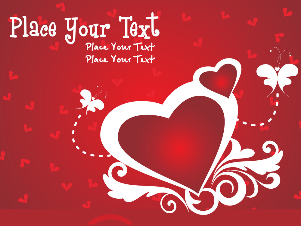 Red Background With Floral Pattern Heart