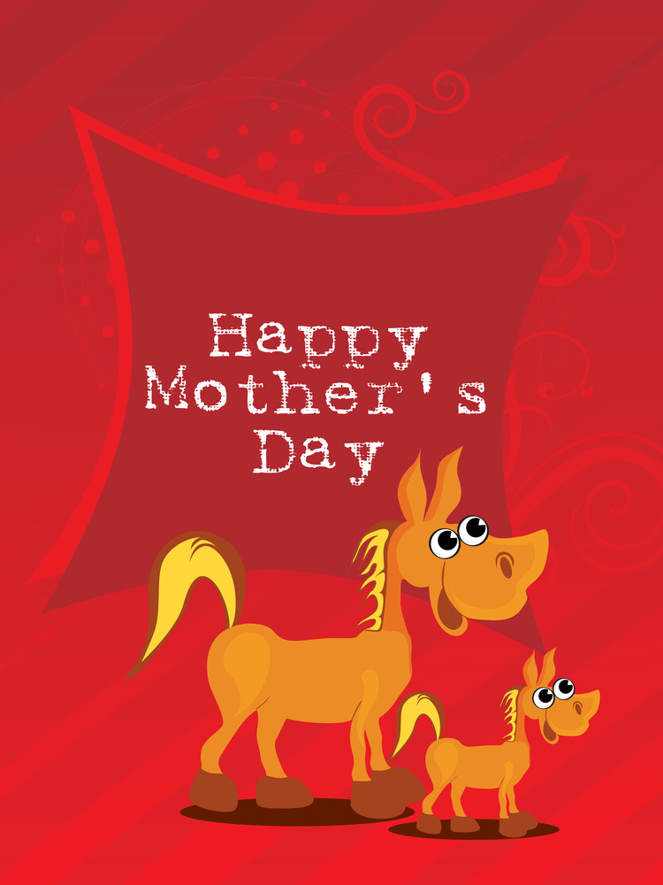 Red Background With Horse