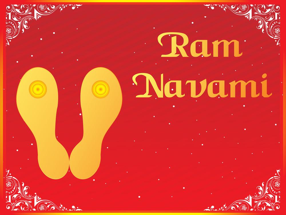 Red Background With Lord Rama Slipper