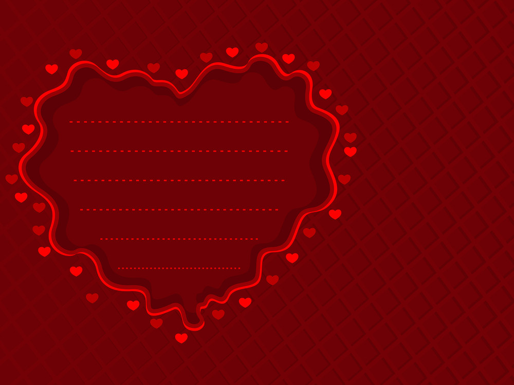 Red Background With Red Decorative Heart. Vector Illustration.