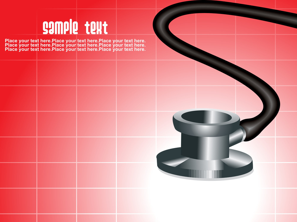 Red Background With Stethoscope
